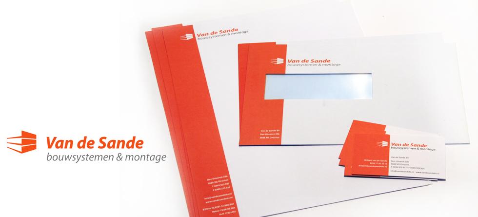 voorbeeld visitekaartjes, briefpapier en enveloppen voor van de sande bouwsystemen & montage